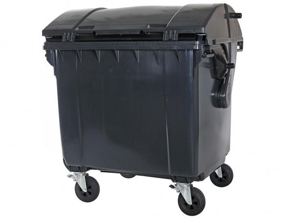 4-wiel afvalcontainer - 1100 liter - rond deksel - grijs