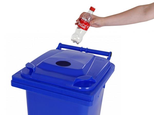 Inzamelcontainer plastic flessen - 120 liter - blauw