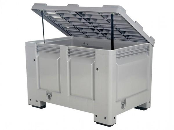 Palletbox met deksel - 1200 x 800 mm - op 4 poten - grijs