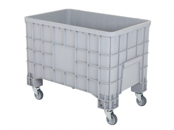 Palletbox - 1000x635mm - met vier zwenkwielen - grijs