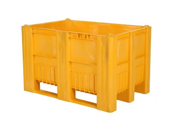 Kunststof palletbox - 1200x800xH740mm - 3 sledes - geel