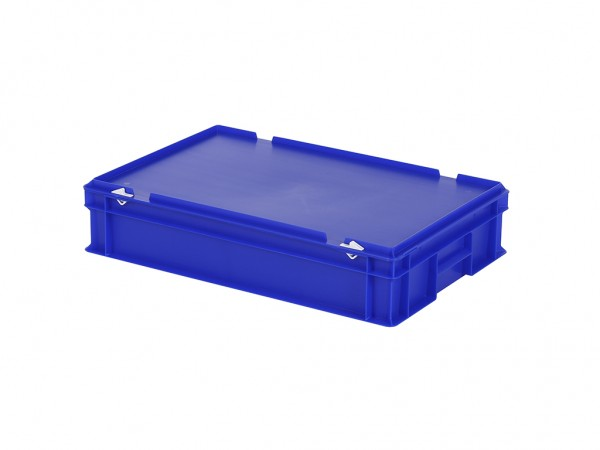 Stapelbak met deksel - 600x400xH135mm - blauw