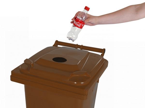 Inzamelcontainer plastic flessen - 120 liter - bruin