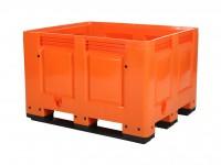 Kunststof palletbox - 1200x1000xH790mm - 3 sledes - oranje