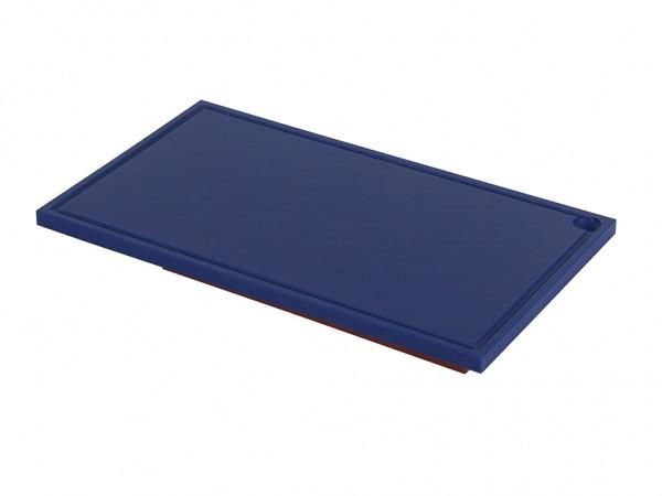 Kunststof snijplank - 600x350x20mm - blauw - met sapgeul