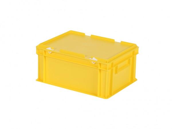 Stapelbak met deksel - 400x300xH190mm - geel