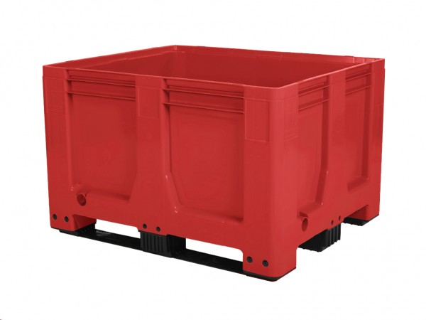 Kunststof palletbox AIR - 1200x1000xH760mm - 3 sledes - rood