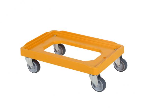 Verrijdbaar kunststof onderstel 600x400mm - oranje - rubber wielen
