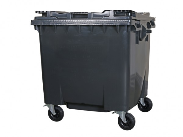 4-wiel afvalcontainer - 1100 liter - vlak deksel - grijs