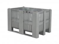 Kunststof palletbox - 1200x800xH740mm - 3 sledes - grijs