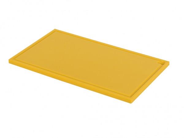 Kunststof snijplank - 600x350x20mm - geel - met sapgeul