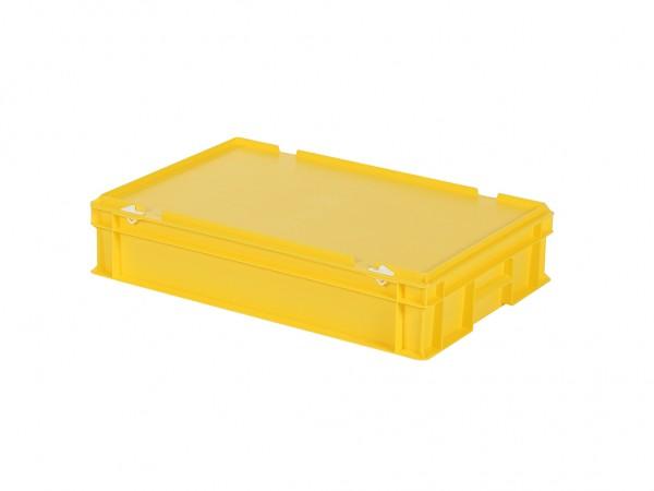 Stapelbak met deksel - 600x400xH135mm - geel