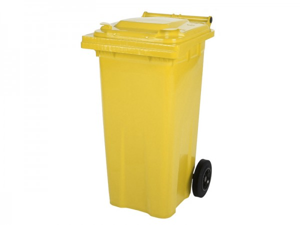 2-wiel afvalcontainer - 120 liter - geel