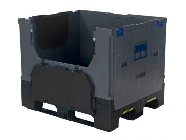 SALE - Inklapbare palletbox - 1200 x 1000 x H975 mm - 2 laadkleppen - donkergrijs