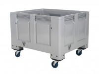 Kunststof palletbox - 1200x1000xH915mm - op wielen - grijs