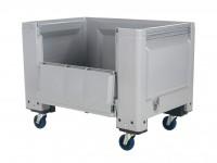 Kunststof palletbox - 1200x800xH915mm - met klep - op wielen - grijs 4403.155.554
