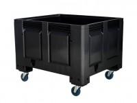 Kunststof palletbox - 1200x1000xH915mm - op wielen - zwart