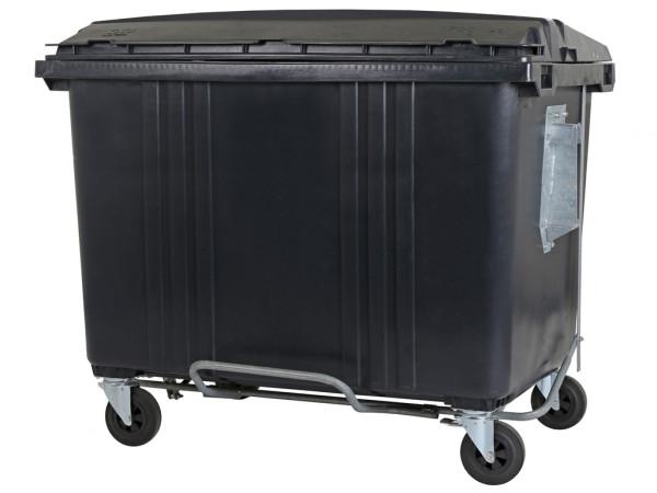 4-wiel afvalcontainer - 1700 liter - vlak deksel - grijs