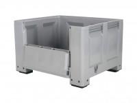 Kunststof palletbox - 1200x1000xH760mm - met klep - op 4 poten - grijs 4401.150.554