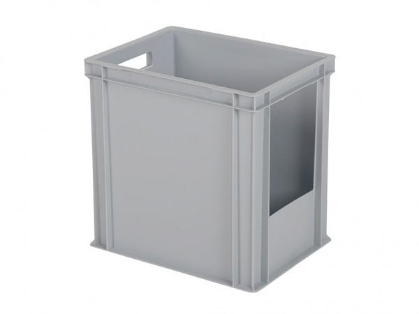 Stapelbak met grijpopening - 400x300xH400mm - grijs - korte zijde
