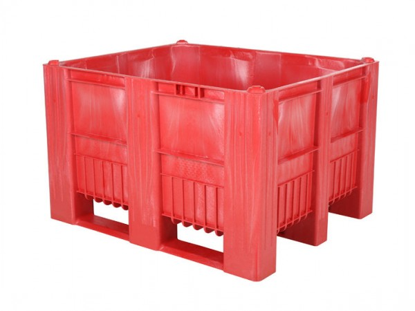Palletbox - 1200x1000mm - 3 sledes - rood