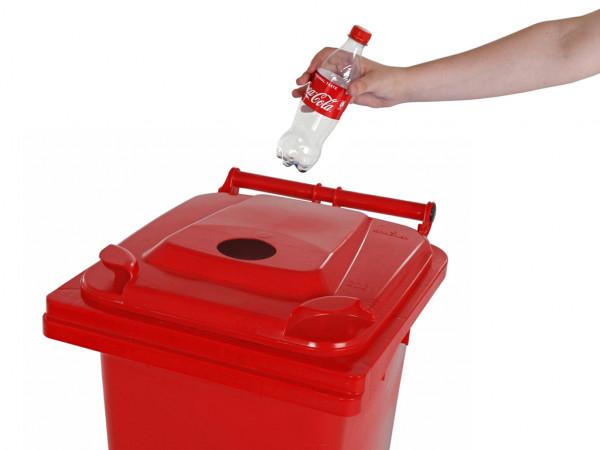Inzamelcontainer plastic flessen - 120 liter - rood