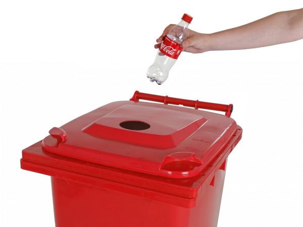 Inzamelcontainer plastic flessen - 240 liter - rood