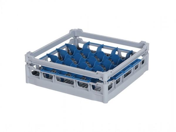 Glazenkorf 500x500mm - glashoogte max. 110 mm - lage bovenrand en vakverdeling - grijs
