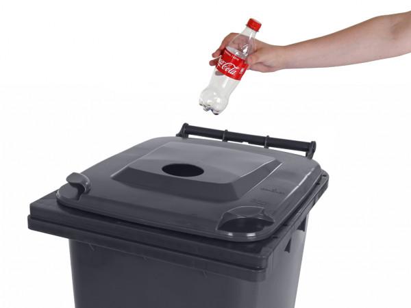 Inzamelcontainer plastic flessen - 240 liter - grijs