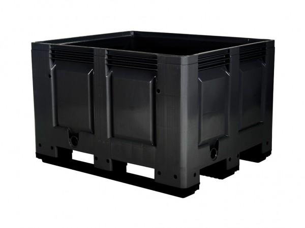 Kunststof palletbox - 1200x1000xH790mm - 3 sledes - zwart