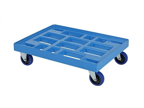 Verrijdbaar kunststof onderstel 800x600mm - blauw - gegalv. gaffels