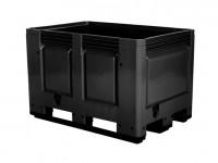 Kunststof palletbox - 1200x800xH790mm - 3 sledes - zwart 4403.300.093