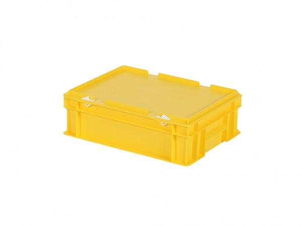Stapelbak met deksel - 400x300xH133mm - geel