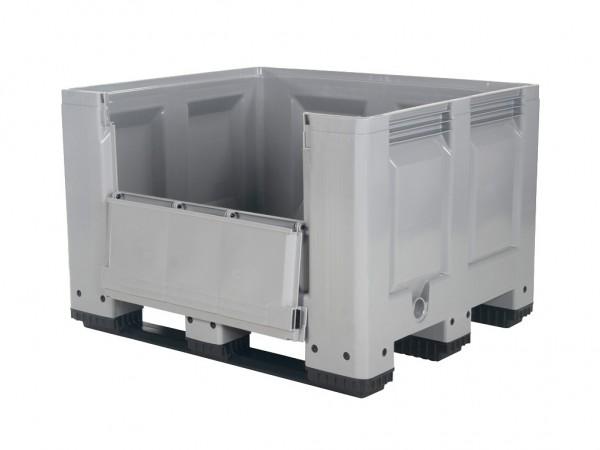 Kunststof palletbox - 1200x1000xH790mm - met klep - op 3 sledes - grijs