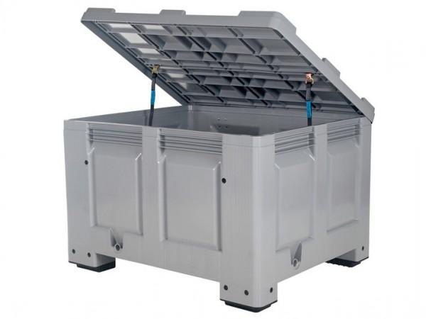 Palletbox met deksel - 1200x1000mm - op 4 poten - grijs