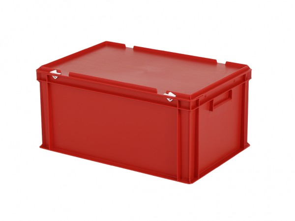 Stapelbak met deksel - 600x400xH295mm - rood