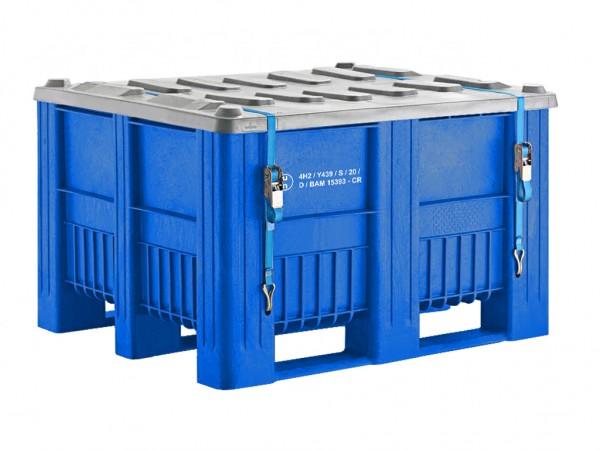 UN-keur palletbox - 1200x1000mm - 3 sledes - blauw