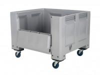 Kunststof palletbox - 1200x1000xH915mm - met klep - op wielen - grijs 4401.155.554