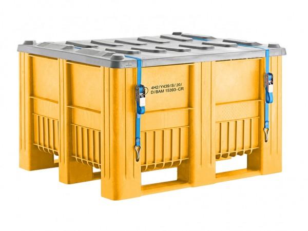 UN-keur palletbox - 1200x1000mm - 3 sledes - geel