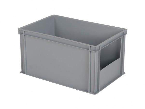 Stapelbak met grijpopening - 600x400xH320mm - grijs - korte zijde