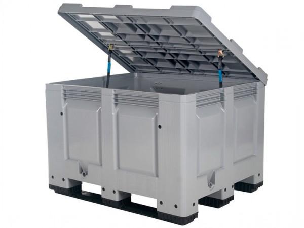 Strooizoutbak kunststof palletbox - 1200x1000xH830mm - met deksel - op sledes