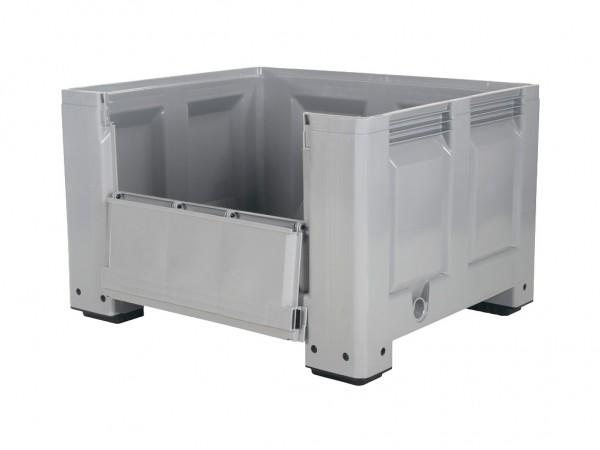 Kunststof palletbox - 1200x1000xH760mm - met klep - op 4 poten - grijs