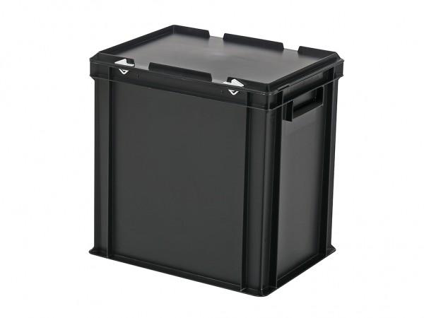 Stapelbak met deksel - 400x300xH415mm - zwart