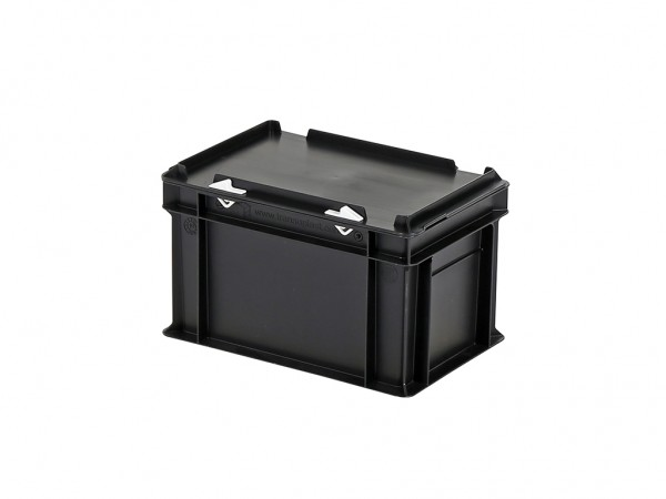 Stapelbak met deksel - 300x200xH190mm - zwart