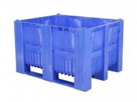 Kunststof palletbox - 1200x1000xH740mm - 3 sledes - blauw 83281310