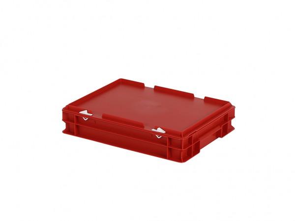 Stapelbak met deksel - 400x300xH90mm - rood