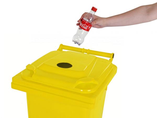 Inzamelcontainer plastic flessen - 120 liter - geel