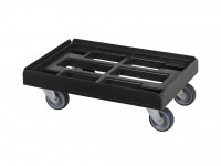 Verrijdbaar kunststof onderstel 600x400mm - zwart - gegalv. gaffels 52.TR6040.4.K