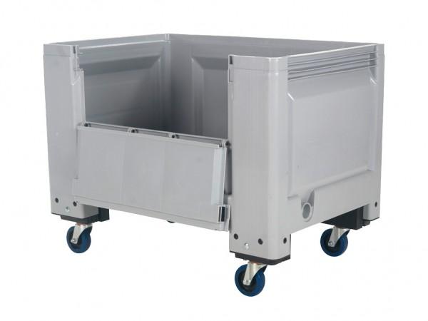 Kunststof palletbox - 1200x800xH915mm - met klep - op wielen - grijs