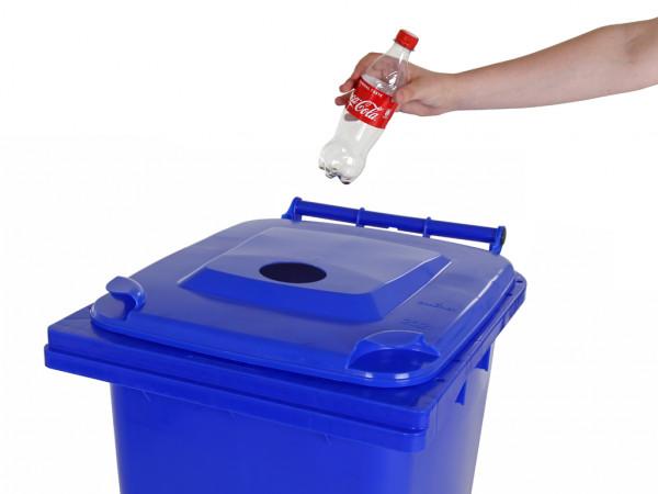 Inzamelcontainer plastic flessen - 240 liter - blauw